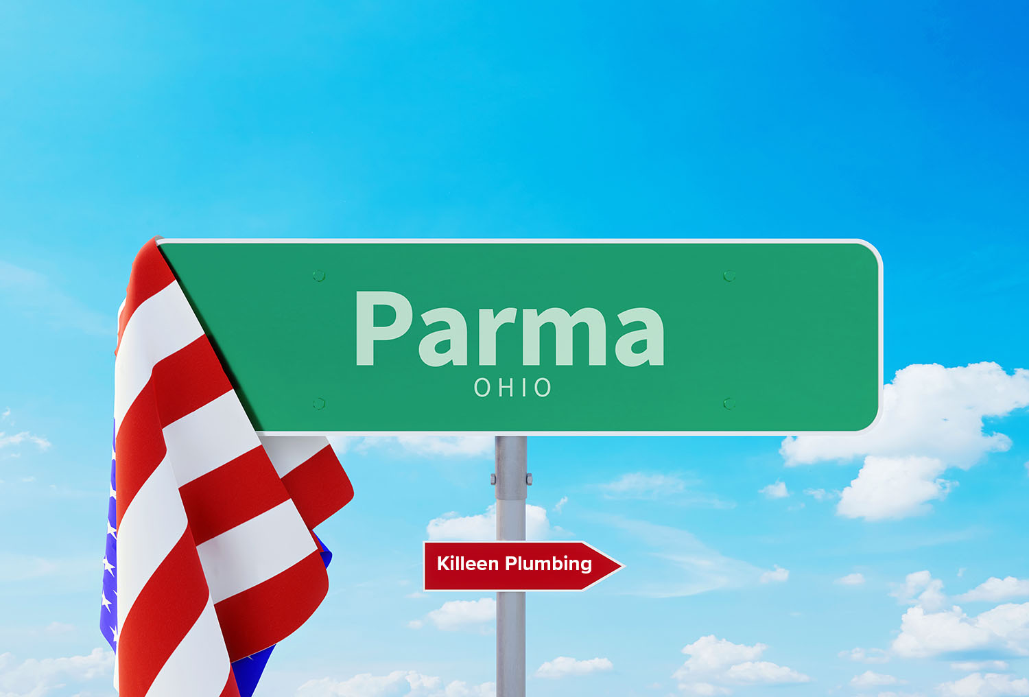 A sign for Parma, OH, pointing toward Killeen Plumbing