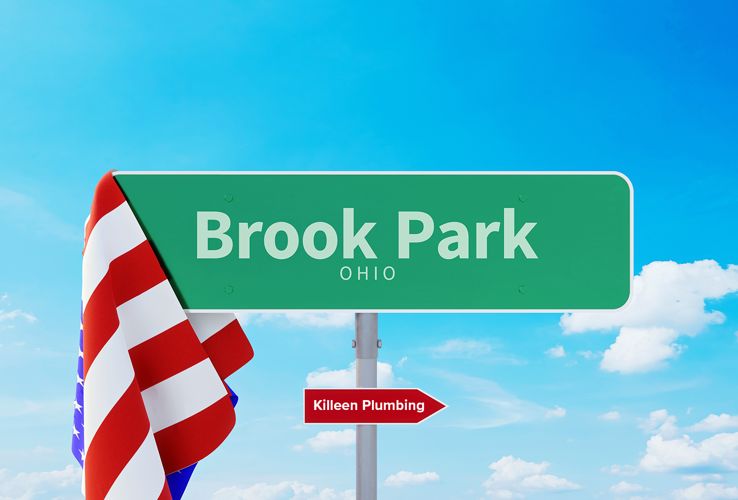 A sign for Brook Park, OH, pointing toward Killeen Plumbing