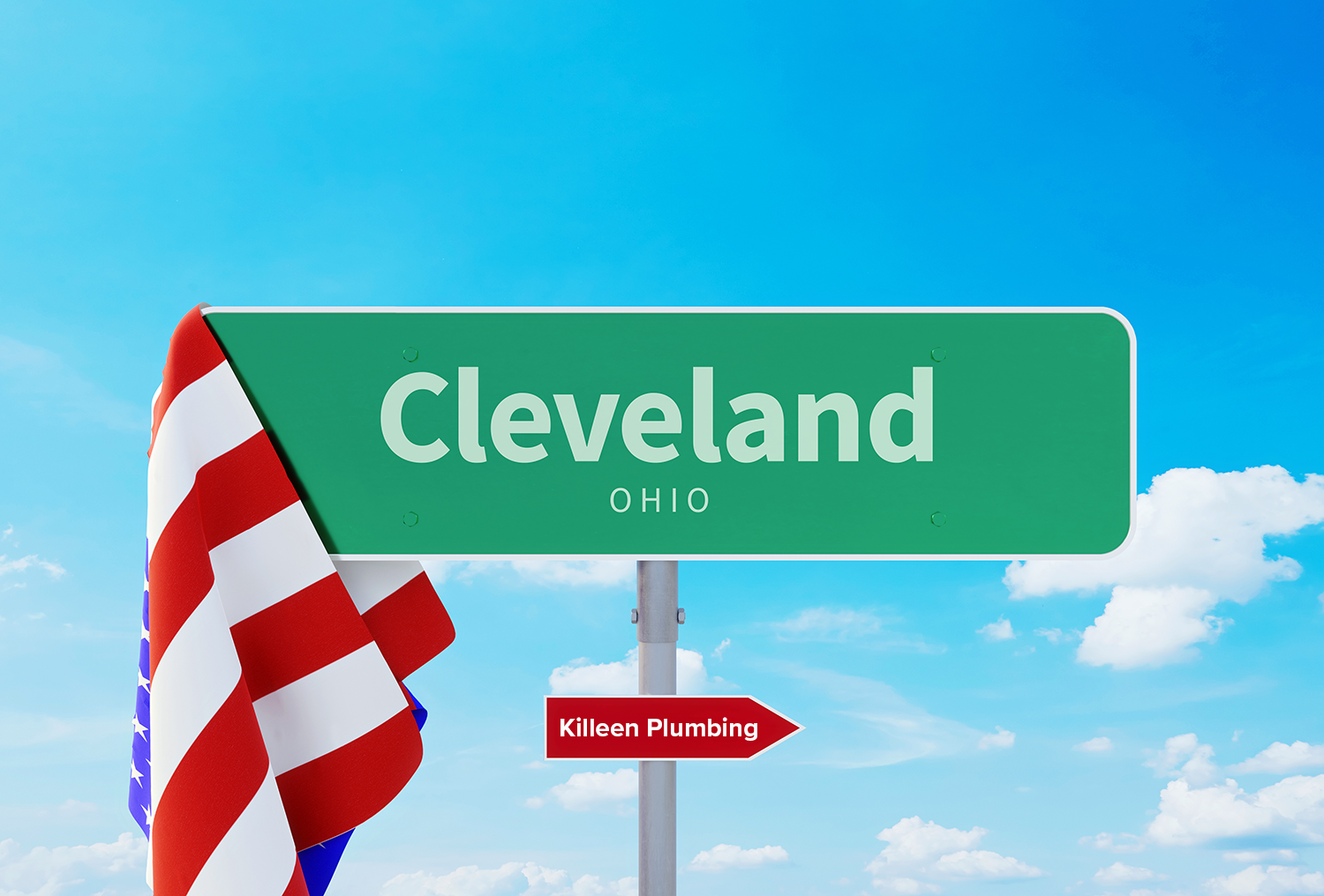 A sign in Cleveland, OH pointing to Killeen Plumbing