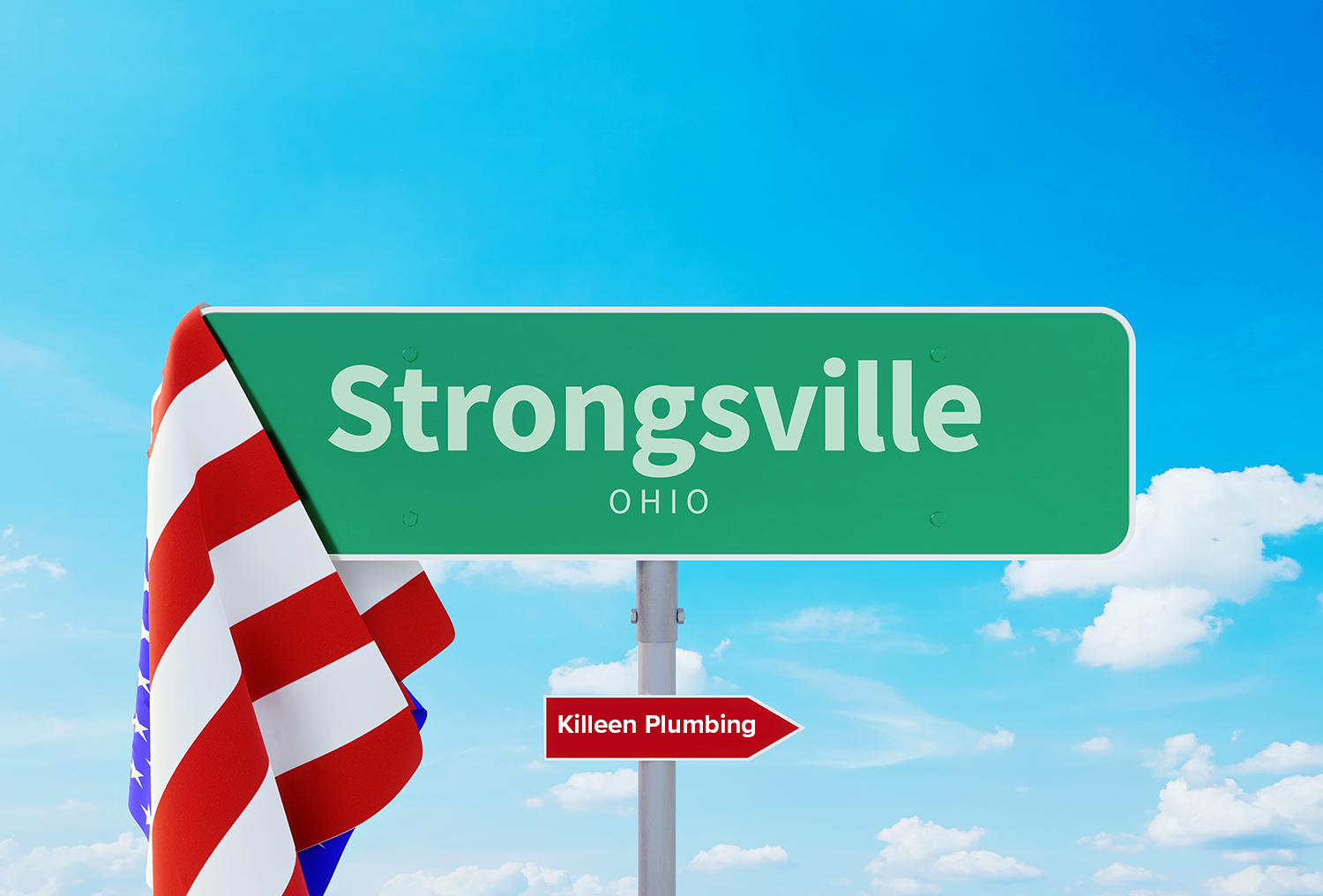 A sign for Strongsville, Ohio, pointing to Killeen Plumbing.